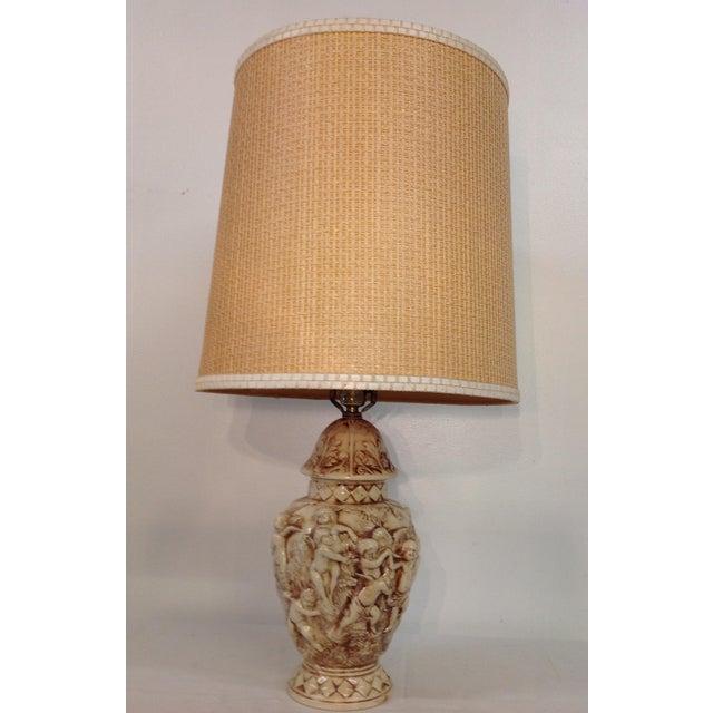 Majolica Porcelain Cherub Relief Lamps - Pair - Image 6 of 9