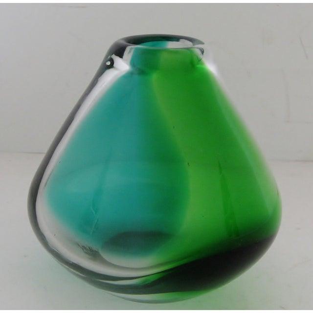 Erickson Vintage Blue & Green Glass Vase - Image 4 of 6
