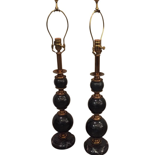 Image of Maitland-Smith Black Marble & Gold Lamps - A Pair