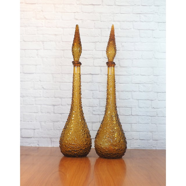 Italian Empoli Bubble Glass Genie Decanters - Pair - Image 5 of 9