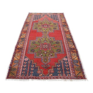 Floral Antique Turkish Anatolian Wool Rug - 4′5″ × 9′