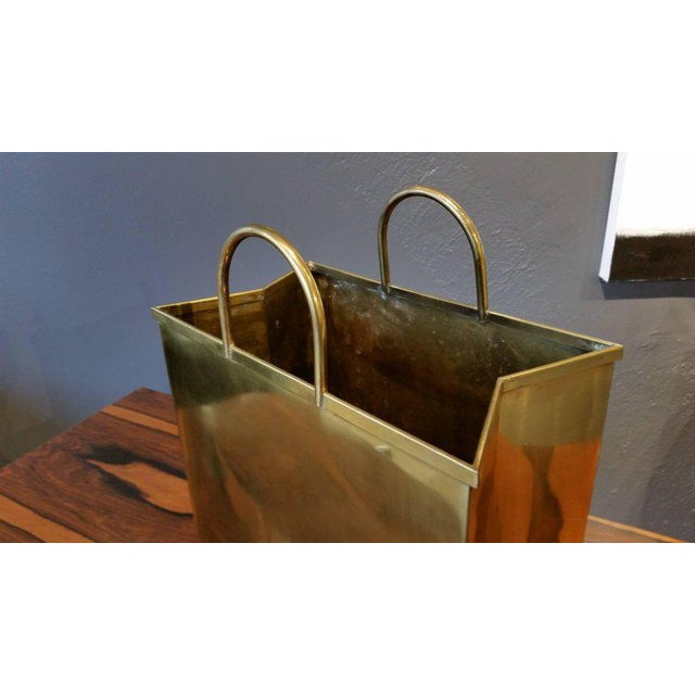1970s Spain Sarreid, Ltd. Glam Brushed Brass Shopping Bag Umbrella Stand - Image 4 of 7