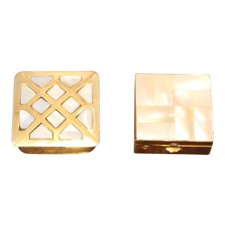 Vintage Marhill Brass Boxes With Pearl Inlay - A Pair