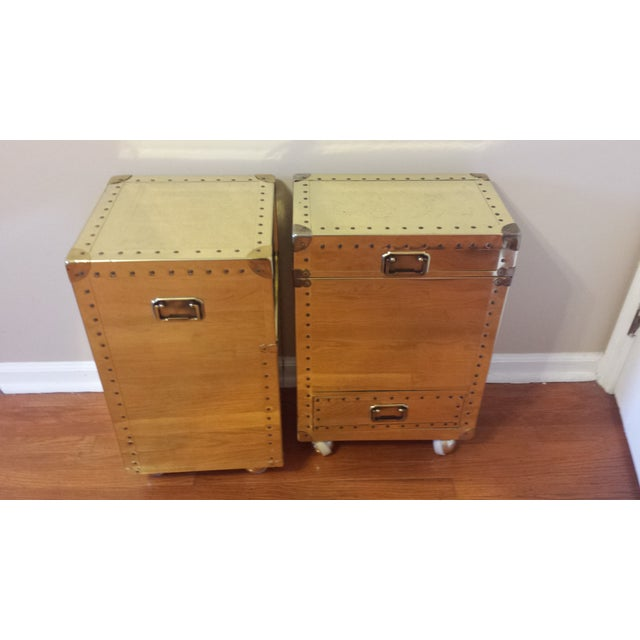 Studded Brass Trunk Sidetables - A Pair - Image 2 of 9