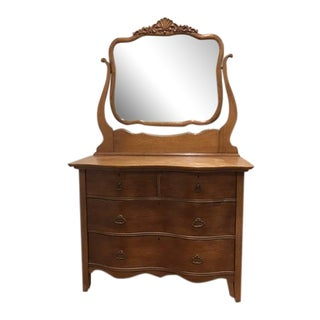 Mirrored Oak Dresser