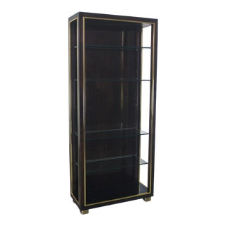 Vintage Dark Etagere With Brass Trim & Glass Shelves
