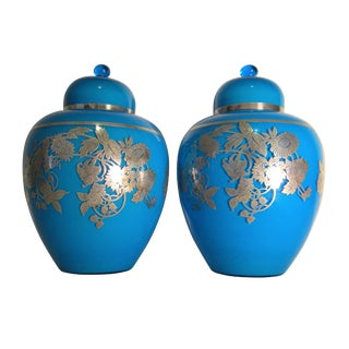 Blue Glass & Sterling Silver Vases - a Pair
