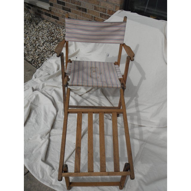 Antique Canvas Steamer Chair & Footrest - Image 5 of 8
