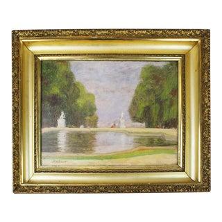European Park Scene Oil Painting