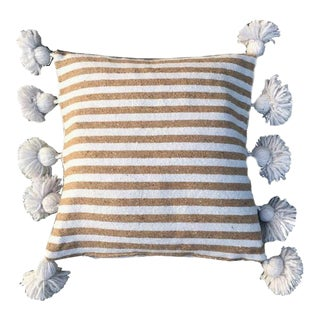 Tan & White Pom-Pom Pillow Cover