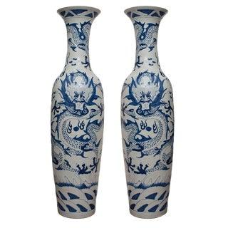 """72"""" Tall Bleu De Hue Vases - a Pair"""