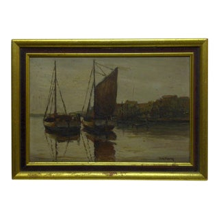 """Docked Boats"" Framed Painting on Board"