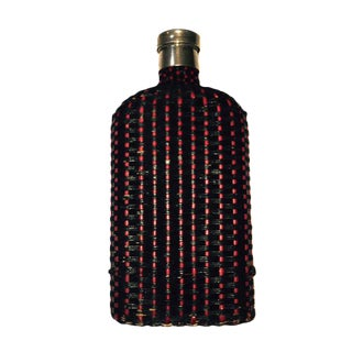 European Wicker Covered Pewter Flask