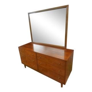Mid-Century Modern Gunstock Walnut 6 Drawer Dresser W&Mirror