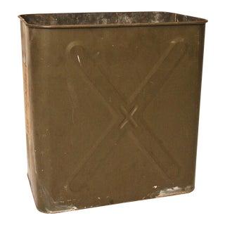 Vintage Military Drab Green Metal Trash Can