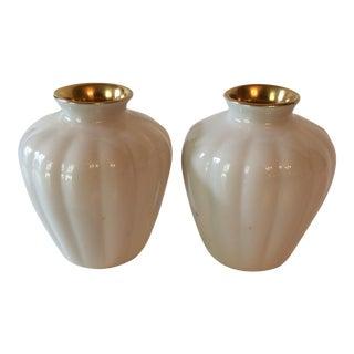 Vintage Cream & Gold Lenox Vases - A Pair