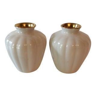 Vintage Cream & Gold Lenox Vases - A Pair