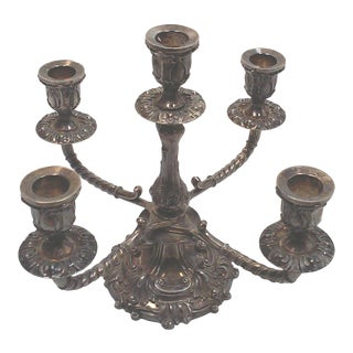 Sheffield Silverplate Five Arm Candelabra