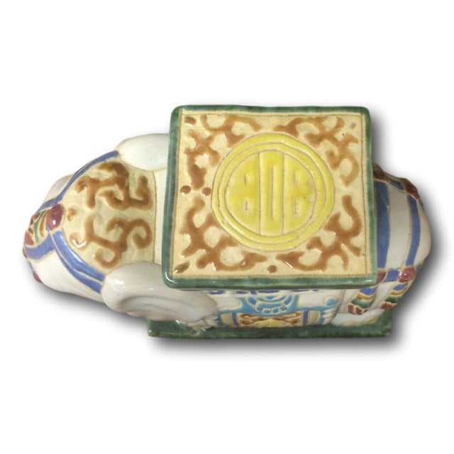 Vintage Chinoiserie Mini Elephant Pottery Stool - Image 3 of 5