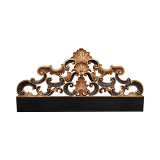Karges Black & Gold Painted King Rococo Headboard