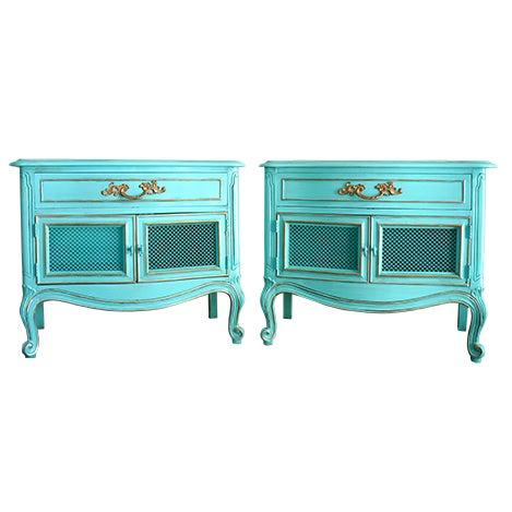 French Style Turquoise Nightstands - Pair - Image 1 of 10