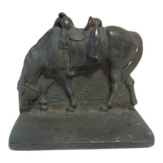 Vintage Single Book End Or Door stop Cast Iron Horse