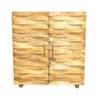 Vintage Carved Basket-Weave Cabinet