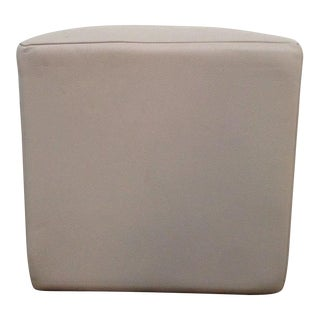 Contemporary White Leather Upholstered Ottoman