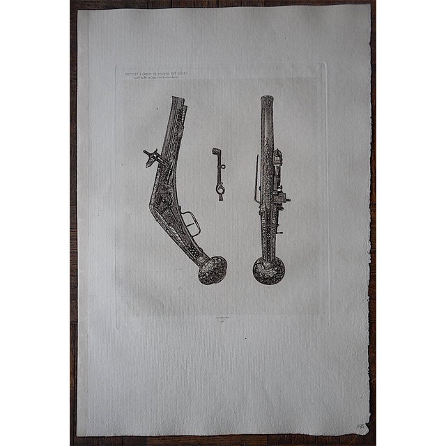 Antique Early Flintlock Etching - Image 2 of 3