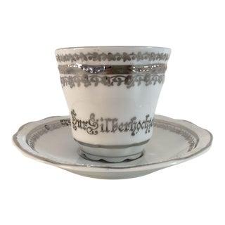 Elegant Silver & White German Porcelain Tea Cup