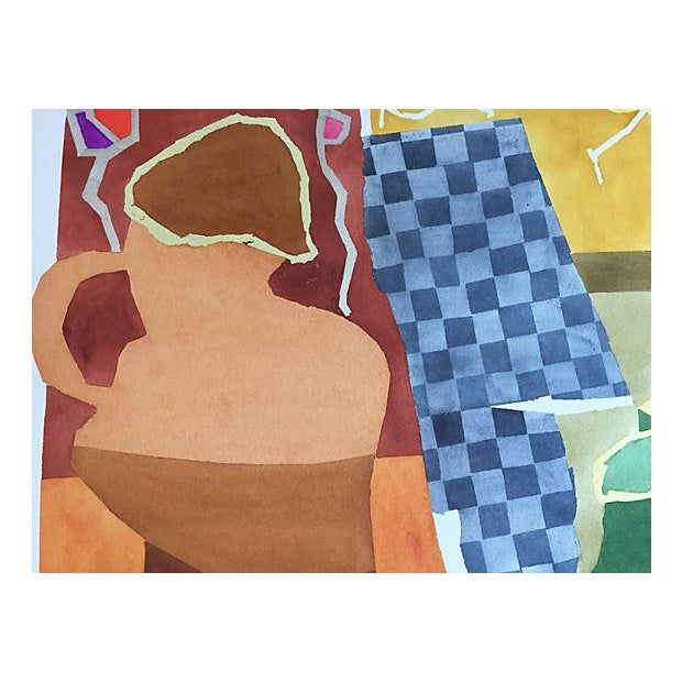 Modernist Still Life Watercolor Painting - Image 2 of 6