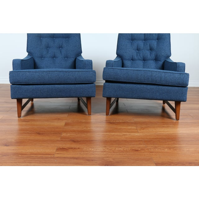 Mid-Century Blue Tufted Lounge Chairs - A Pair - Image 5 of 7