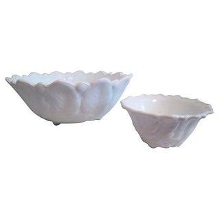 White Botanical Serving Bowls - Pair