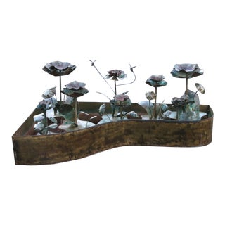 Sculptural Floral Metal Fountain