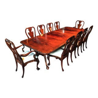 Georgian Style Flame Mahogany Ball & Claw Dining Set - Set of 11