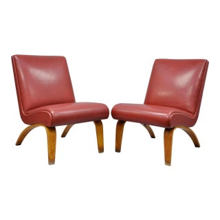 Vintage Thonet Bentwood Slipper Lounge Club Chairs - a Pair