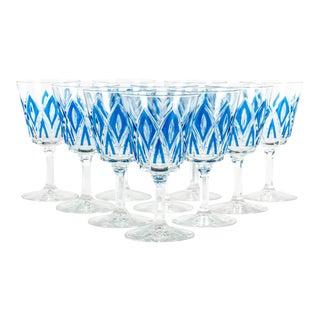 Crystal & Blue Wine Glasses - Set of 18