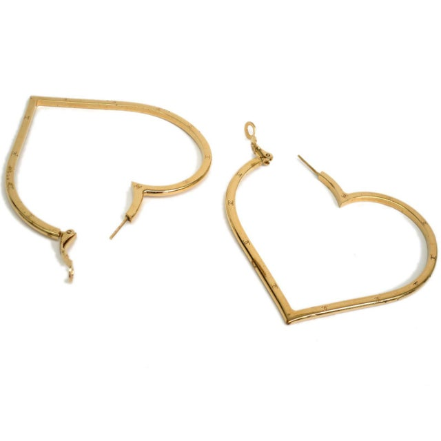 Image of Chanel Gold Plated Heart Earrings