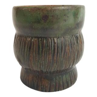 Deep Green Raku Glaze Vase