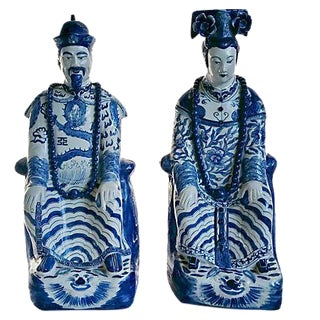 Blue & White Asian Ancestral Figures - A Pair