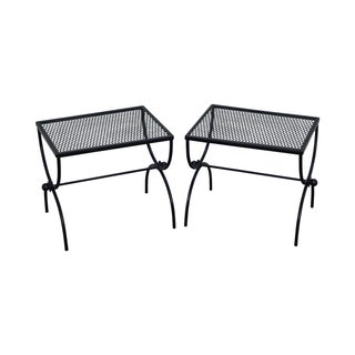 Mid Century Painted Metal X Base Low Tables - Pair