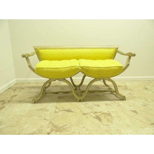 Vintage French Regency X Base Louis XV Settee Love Seat Recamier - Image 11 of 11