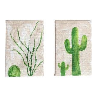 Mini Cactus Acrylic Paintings - A Pair