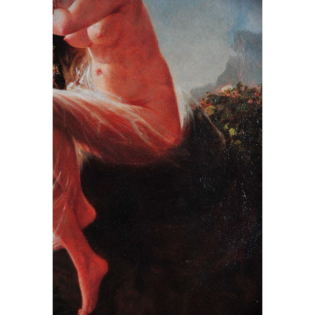 """""""Siren Looking at Sea"""" - 19th Century Oil Painting - Image 6 of 9"""