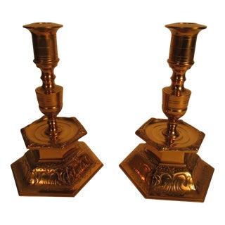 Swedish Ystad Metall Brass Candlesticks - A Pair
