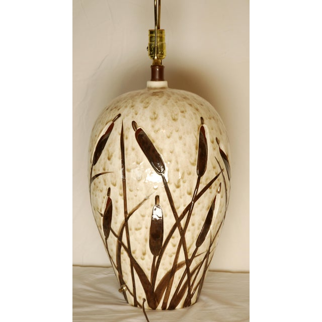 Mid-Century Cattail Lamp With Night Light - Image 6 of 8