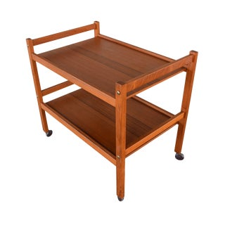 Vintage Danish Mid-Century Modern Teak Cocktail Serving Cart