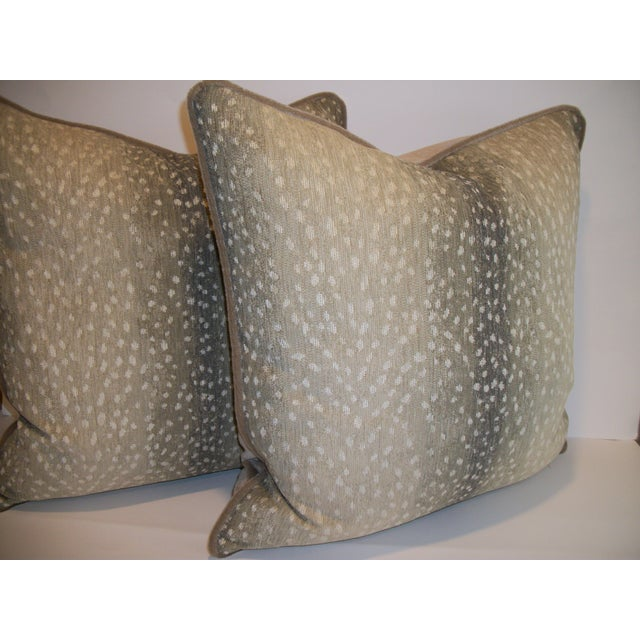 Woven Antelope Pillows with Mohair - A Pair - Image 4 of 5