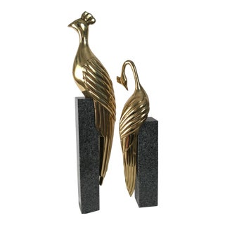 Vintage Brass Birds on Marble - a Pair