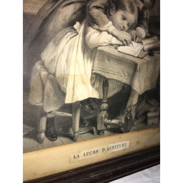 """19th Century """"The Writing Lesson"""" Lithograph - Image 8 of 11"""